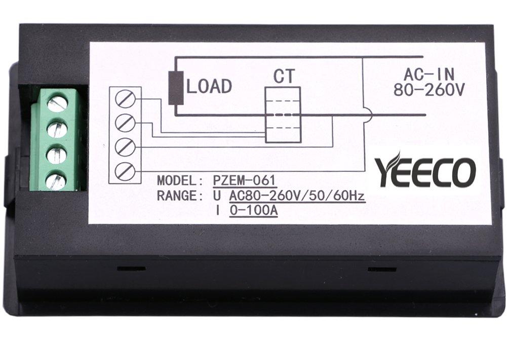 Yeeco Multim/ètre Num/érique AC 80-260V 100A Voltm/ètre Amp/èrem/ètre Voltage Amp/érage Puissance Energy Meter Volt Amp Testeur de Tension Moniteur de Courant Num/érique /écran LCD Volts Amp Mesure avec Trans