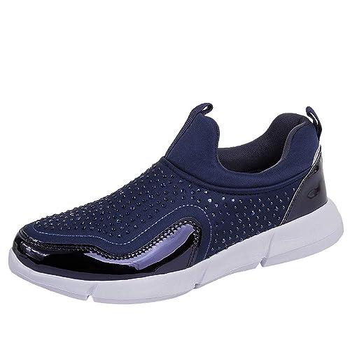 Zapatillas De Running para Mujer Malla Exterior Calzado Deportivo Informal Diamantes ImitacióN con Parte Inferior Suave: Amazon.es: Zapatos y complementos