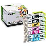 Kingjet IC6CL80L (6色セット)+ 黒1本【7本セット 増量】EPSON (エプソン) 互換インク 最新ICチップ付き・残量表示対応『インクとプリンターのダブル保証』 互換インク 【Kingjet オリジナル】
