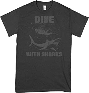 Dive With Sharks Classic Guys Unisex Tee For Man For Women Handmade T-Shirt Cools Shirt Birthday Gift T-Shirt