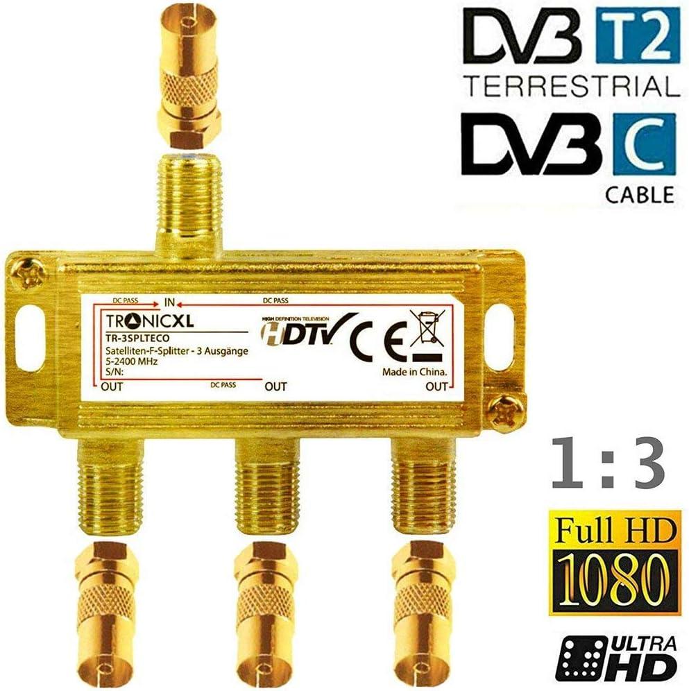 TronicXL Distribuidor coaxial de 3 vías, distribuidor de antena SAT dorado coaxial, conector F con entrada de CC, para televisión por cable, ...