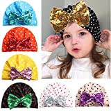 Baby Knotted Turban Hat Headband - Baby Girl Sequins Bow Knot Headwear Head Wrap