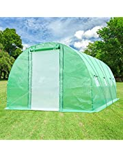 Ohuhu 20'x10'x7' Upgraded Large Walk-in Greenhouse with Dual Zippered Screen Doors & 6 Screen Windows, Heavy Duty Plant Green House with Reinforced Galvanized-Steel Frame, Tunnel Greenhouse with Ropes & Ground Staples