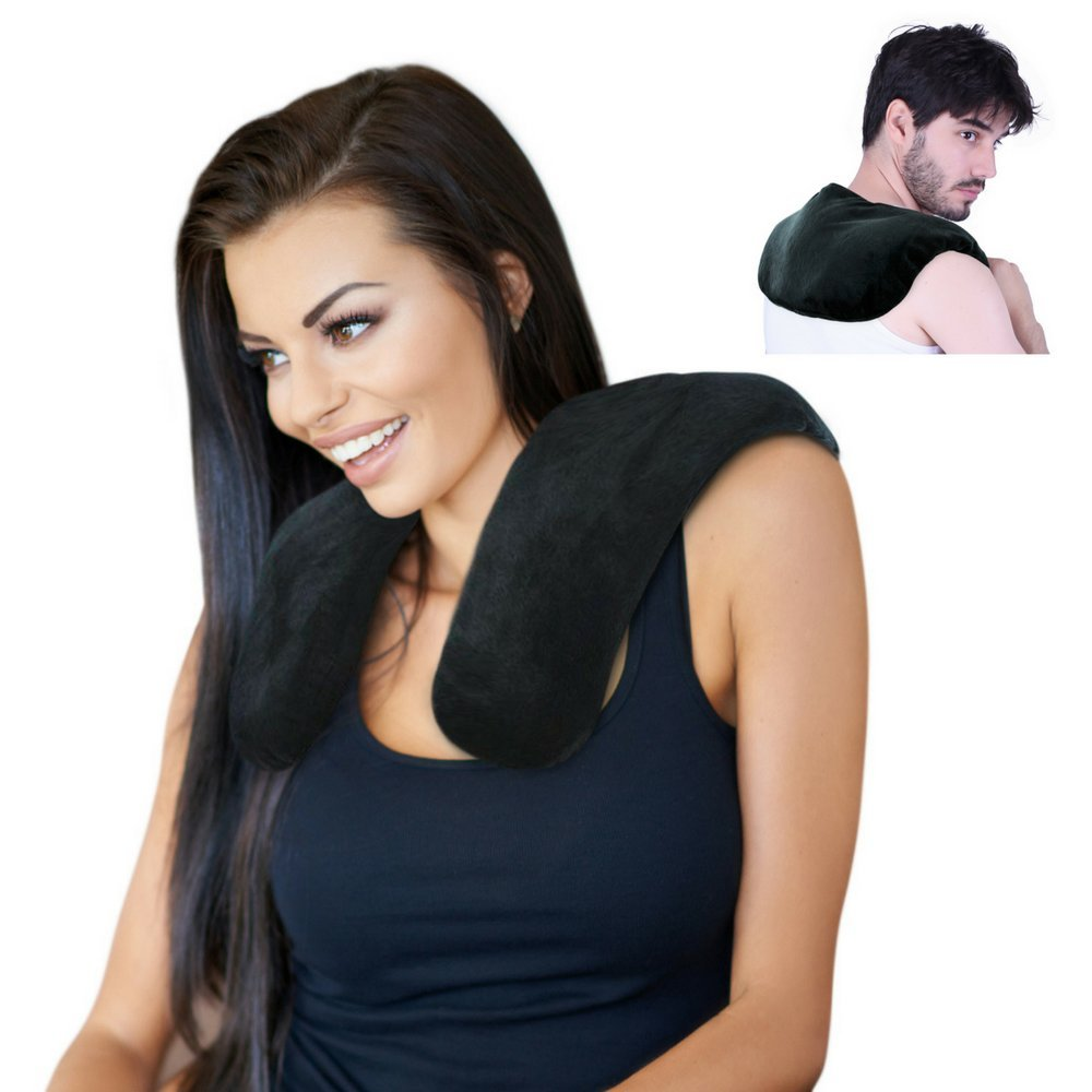 Clay Bead Shoulder and Neck Heating Pad by FOMI Care | Reusable Hot Contour Neck Wrap for Pain Relief, Relaxation | Moist Heat | Microwavable | Soft, Washable Cover