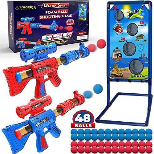 Shooting Game Toy for 5 6 7 8 9 10+ Year Old Boys and Girls - 2 Blasters Popper Air Guns with Standing Target & 48 Foam Balls, 2 Player Indoor Outdoor Fun Children's Games Set, Cool Gifts for Kids