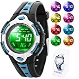 Kids Digital Watch for Child Boys Girls 50M Waterproof with 8 Colours LED Lights for Sports Outdoor