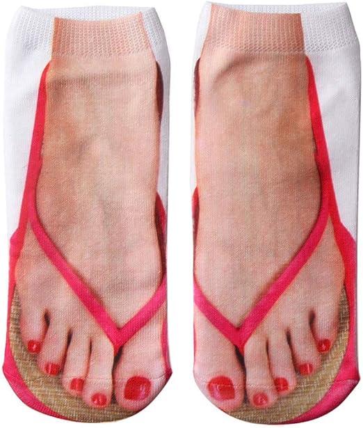 Women Men Funny Socks 3D Print Flip Flops Socks Low Cut Ankle Socks Boat Socks