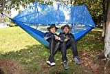 Everking Double Camping Hammocks with Mosquito Net,Lightweight Parachute Nylon Fabric Double Hammock For Outdoor Travel Camping Hiking Backpacking Backyard (blue)