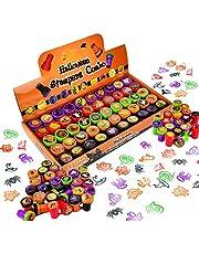 JOYIN Zestaw 50 pieczątek na Halloween, zestaw stempli samotuszających dla dzieci (25 wzorów, plastik, słodkie lub kwaśne, śmieszne pieczątki) na Halloween, imprezę, nagrody do zabawy, Halloween, torebki Goodies
