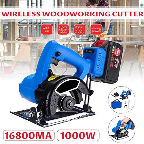 Sin escobillas circular Sierra eléctrica, 128VF 1000W inalámbrico Saw Herramientas para trabajar la madera 125mm hoja de…