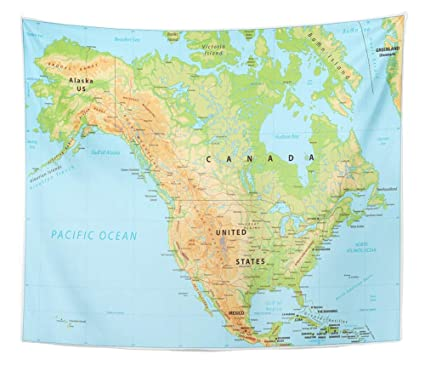 Amazon.com: Emvency Tapestry Wall Hanging Topographic North ...