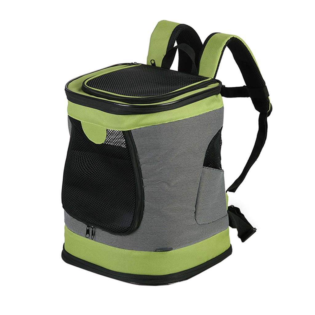 Foldable Pet Backpack Out Bag   Portable Travel Double Shoulder Rucksack   Oxford Cloth Fabric Carrier   Breathable Mesh Soft-Sided Durable for Dog and Cat Green