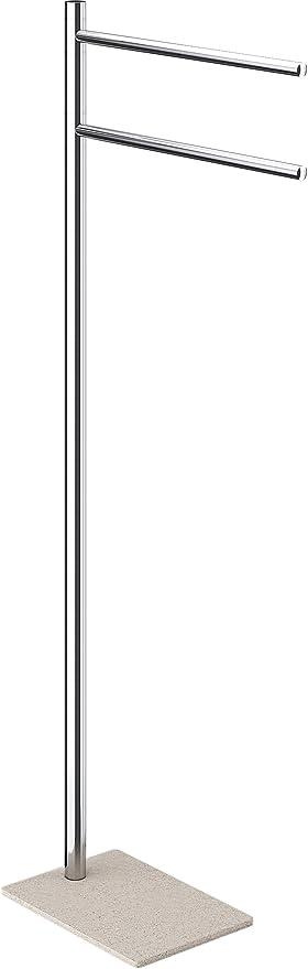 Gedy Trilly Toallero De Pie, Acero Inoxidable, Cromo y Beige, 14x34x83.3 cm