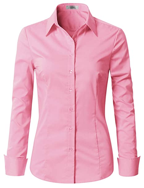 EZEN Womens Slim-Fit Long Sleeve Stretchy Button Down Collar Office Formal  Casual Shirt Blouse 60a53c42c