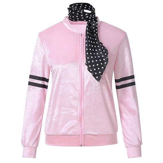 JiaMeng Zipper Danny Pink Ladies Traje de Chaqueta de satén con Bufanda de Lunares Cortaviento con Capucha Camisetas Mujer