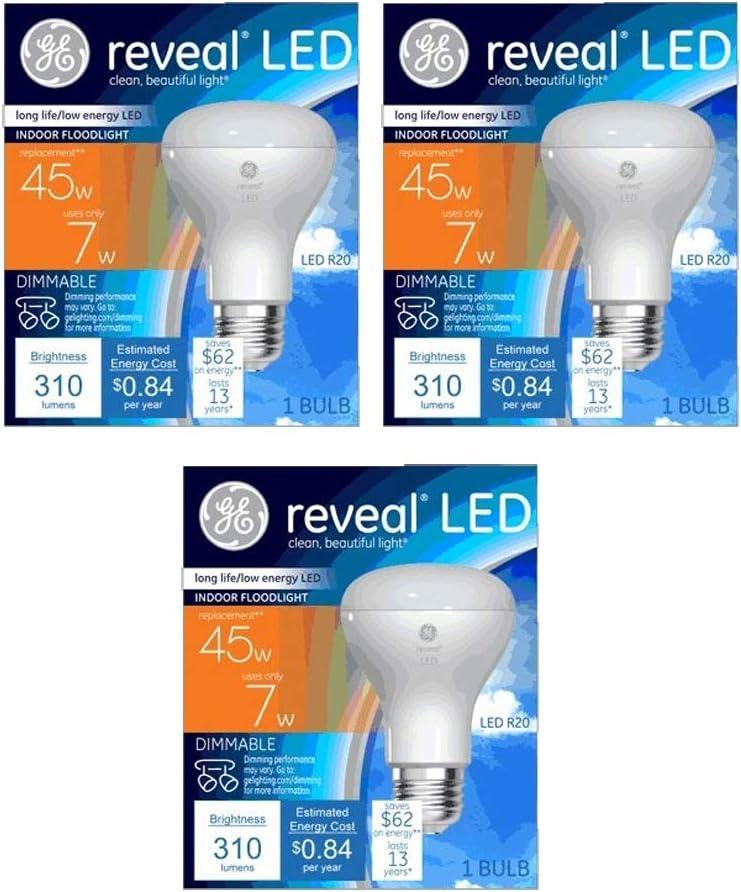GE Lighting 7-Watt (45-Watt Replacement) Reveal LED Indoor Floodlight with Medium Base (3 Bulbs)