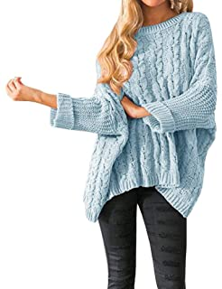 Womens Oversized Sweaters Plus Size Long Sleeve Cable Knit Chunky Pullover  Sweater Jumper Tops 885113417