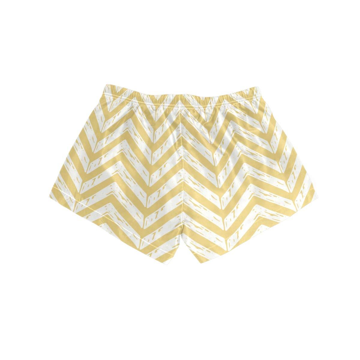 MALPLENA Womens Board Shorts Yellow Wavy Quick Dry Beach Boardshorts