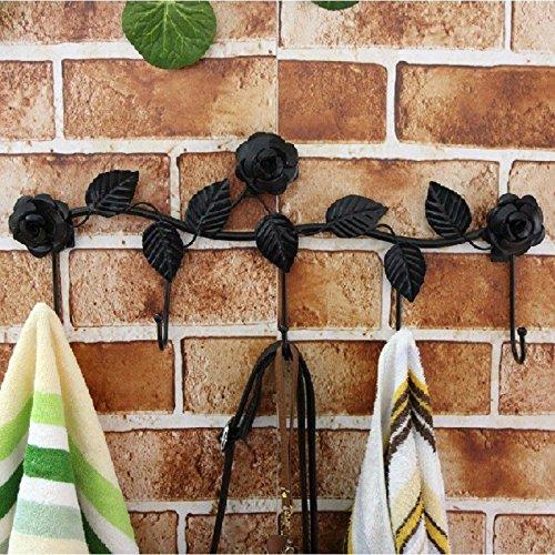 ChenXi Store 5 Hooks Wall Hanger Bathroom Flowers Leaves Metal Door Hook Clothes Towel Rack 70%OFF