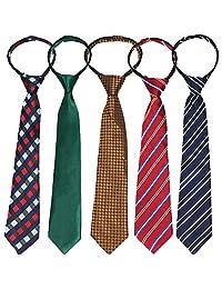 kilofly 5pc Pre-tied Adjustable Zipper Tie Kids Neck Strap Boys Baby Necktie
