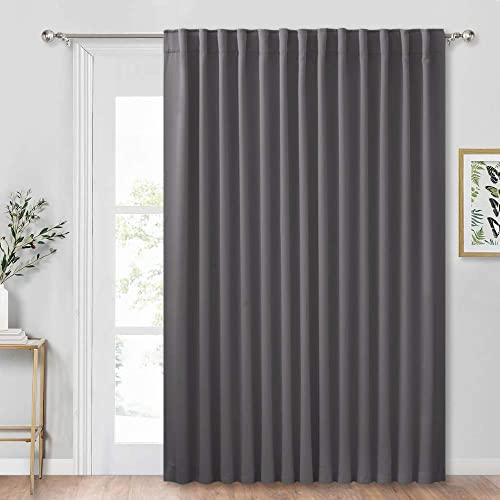 RYB HOME Sliding Door Curtain – Adjustable Vertical Blind for Patio Sliding Glass Door, Thermal Insulated Solid Bedroom Living Room Large Window Drape, Wide 100 x Long 84 inch, Grey