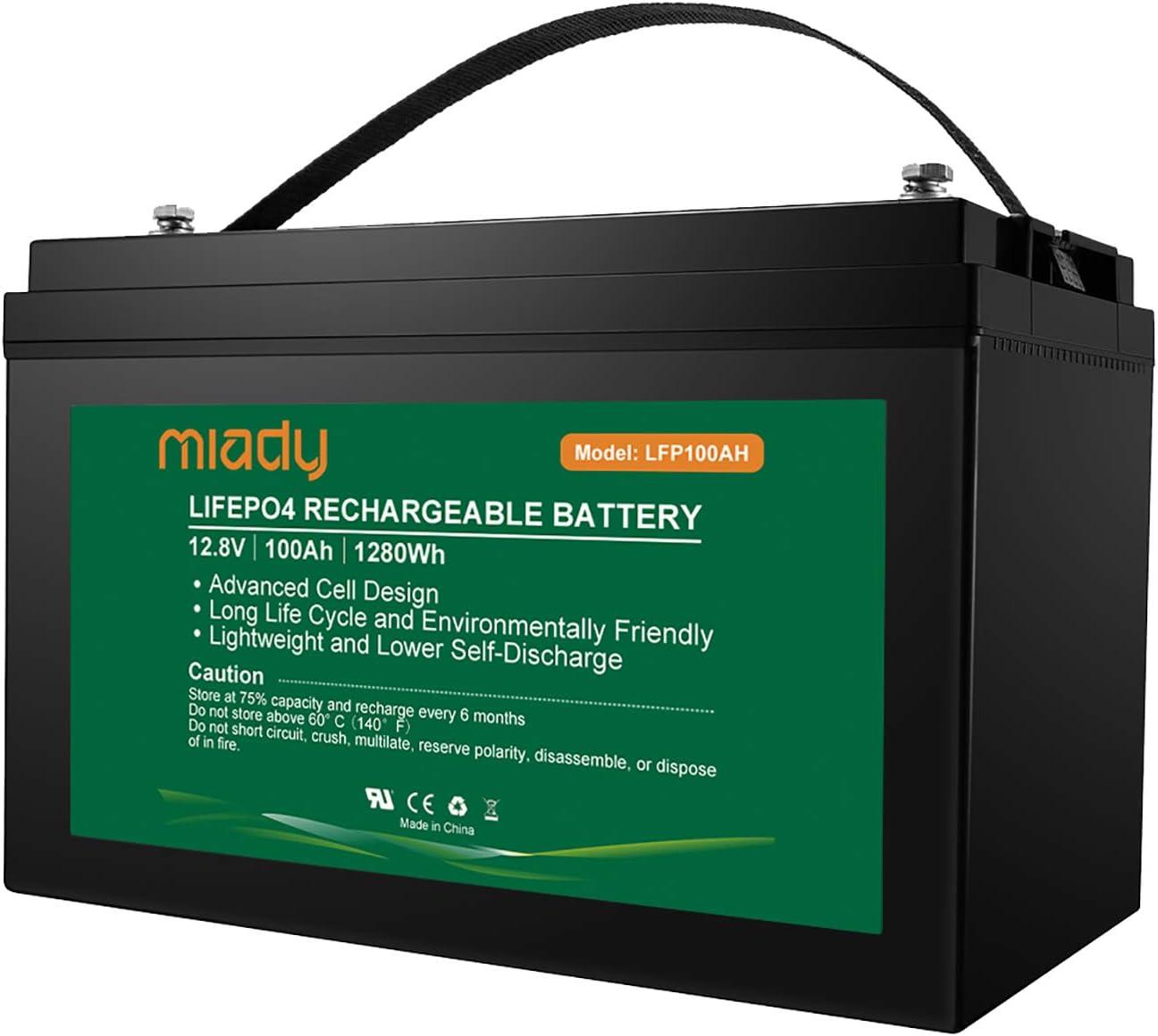 Miady 12V 100Ah Lithium Phosphate Battery