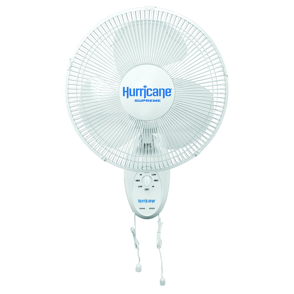 Hurricane Wall Mount Fan - 12 Inch | Supreme Series | Wall Fan with Side to Side 90 Degree Oscillation, 3 Speed Settings, Adjustable Tilt - ETL Listed, White