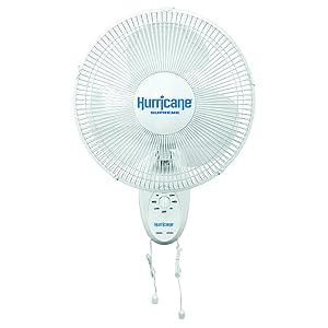 Hurricane Wall Mount Fan - 12 Inch | Supreme Series | Wall Fan with Side to Side 90 Degree Oscillation, 3 Speed Settings, Adjustable Tilt - ETL Listed, White