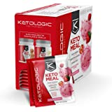 KetoLogic Keto Meal Replacement MCT Shake – Promotes Weight Loss / Suppresses Appetite / Low Carb – Strawberry, 10 Servings