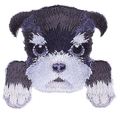 (Schnauzer Dog Embroidered Patch - 1 1/2 x 1 1/2