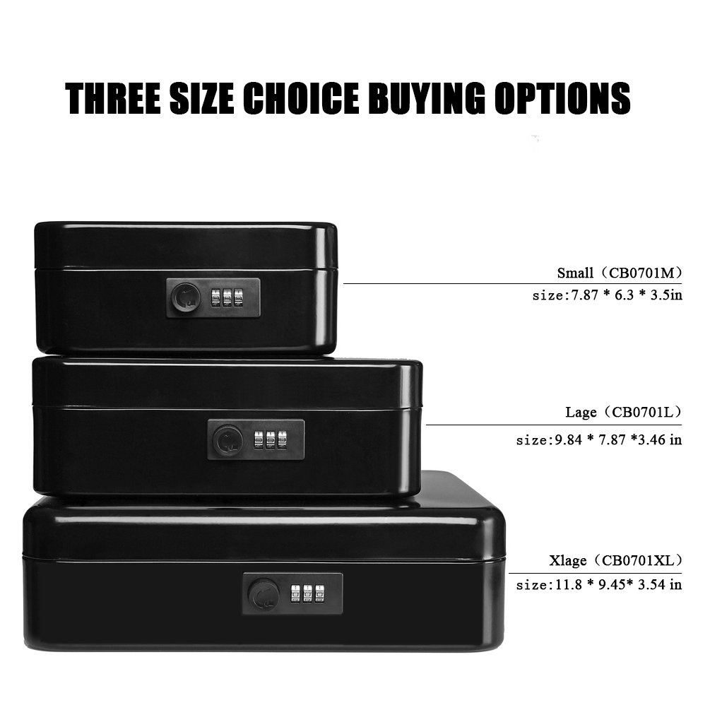 Jssmst Large Cash Box with Combination Lock – Durable Metal Cash Box with Money Tray, Black, 11.81 x 9.84 x 3.46 inches, CB0701XL by Jssmst (Image #10)