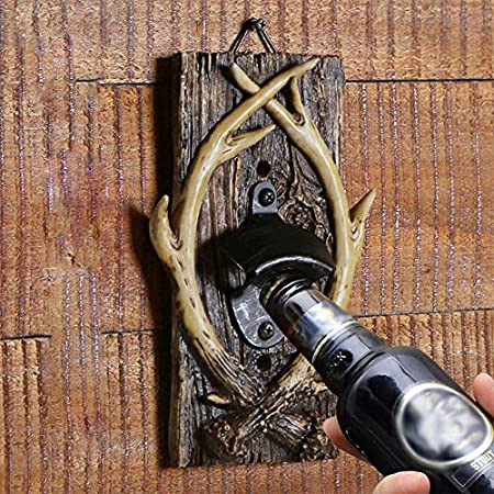 aasdf Sacacorchos de cerveza montado en la pared, diseño retro de cuernos de resina, adornos creativos del norte de Europa, cocina, bar, restaurante, vino, decoración de herramientas abiertas, natural