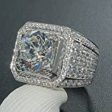 Sumanee Fashion 925 Sterling Silver White Topaz Wedding Ring Women Mens Jewelry S4 6-10 (10)