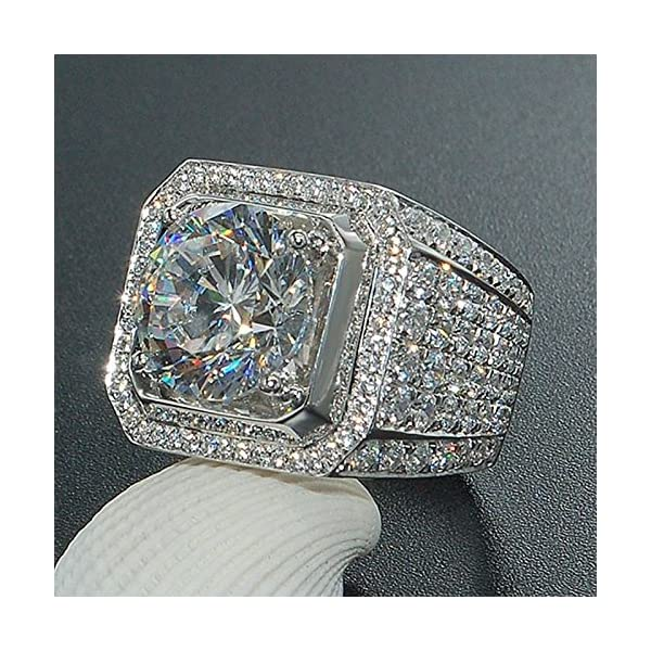 Sumanee Fashion 925 Sterling Silver White Topaz Wedding Ring Women Men's Jewelry S4 6-10
