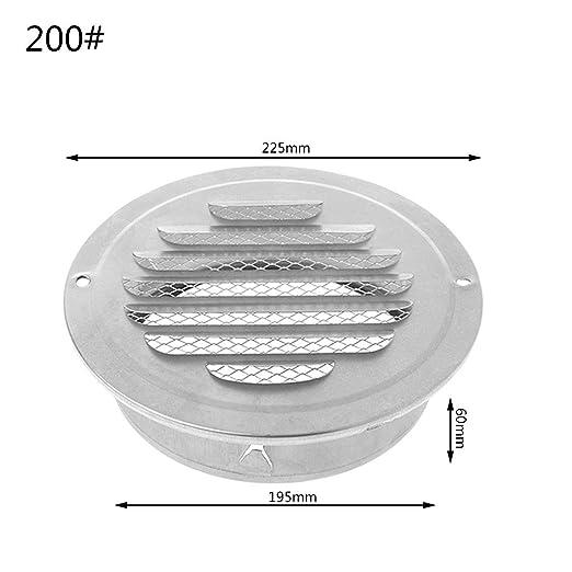 JOYKK Rejilla de ventilación de Aire Exterior de Pared de Acero Inoxidable Rejillas de ventilación Redondas - Plata - 200#