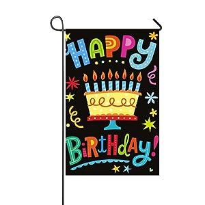 """Rossne G sun Happy Birthday Big Cake Garden Flag House Flag Decoration Double Sided Flag 12.5"""" x 18"""""""