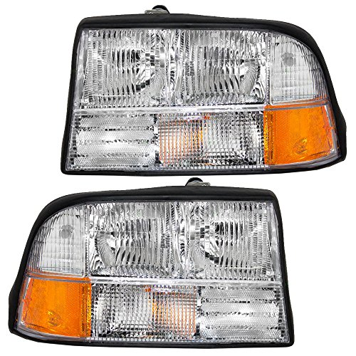Headlights Headlamps Driver and Passenger Replacement for GMC Oldsmobile Pickup Truck SUV 16526227 - Oldsmobile Set Bravada Headlights