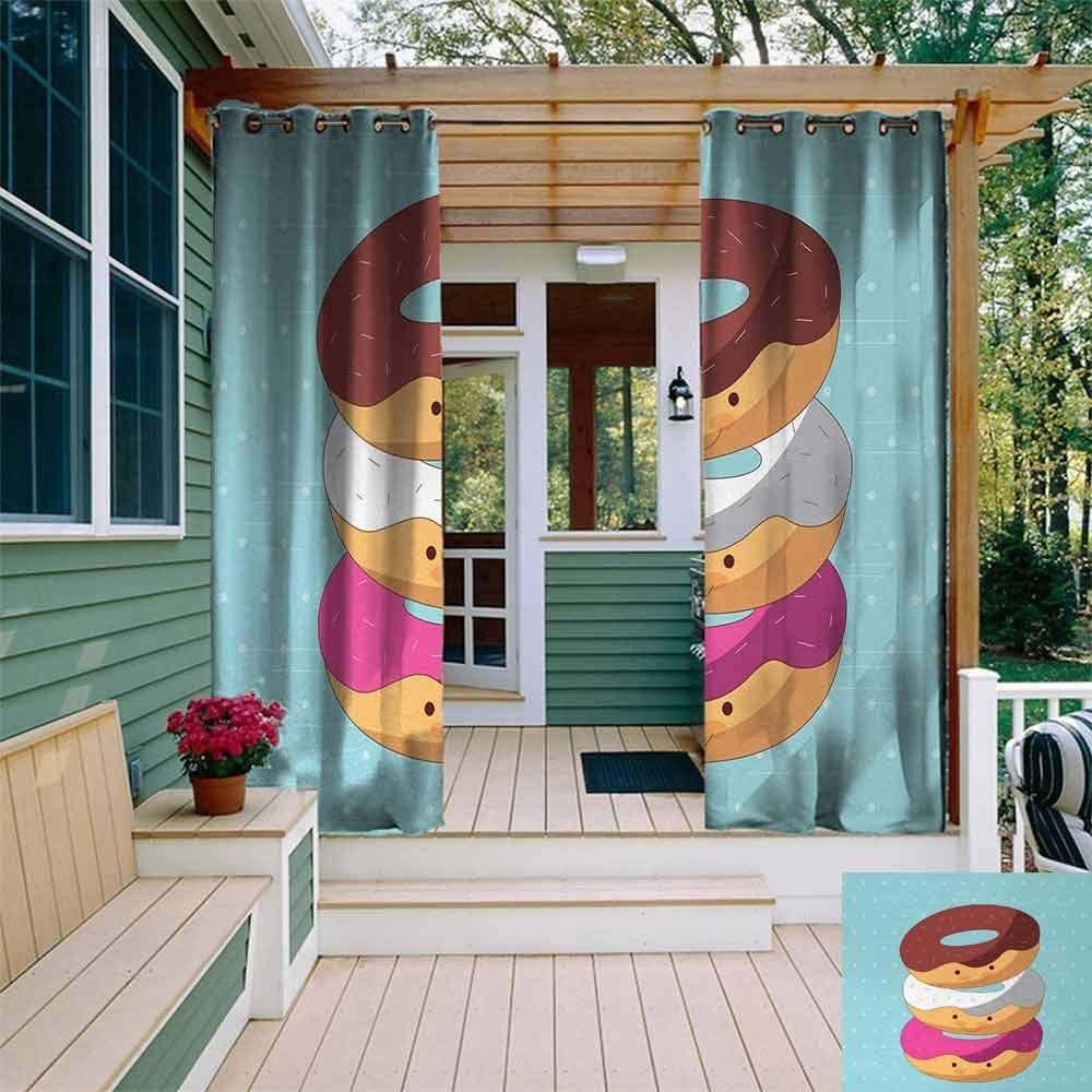 Tt Home Anime Outdoor Grommet Window Curtain Kawaii Cartoon Style Colorful Donuts With Funny And Cute Faces On Blue Background For Patio Front Porch W96x72l Multicolor Amazon Co Uk Garden Outdoors