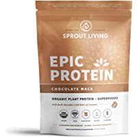 Sprout Living Epic Protein Powder, Chocolate Maca Flavor, Organic Plant Protein, Gluten Free, No Additives, 19 Grams Clean Vegan Protein (1 Pound,13 Servings)