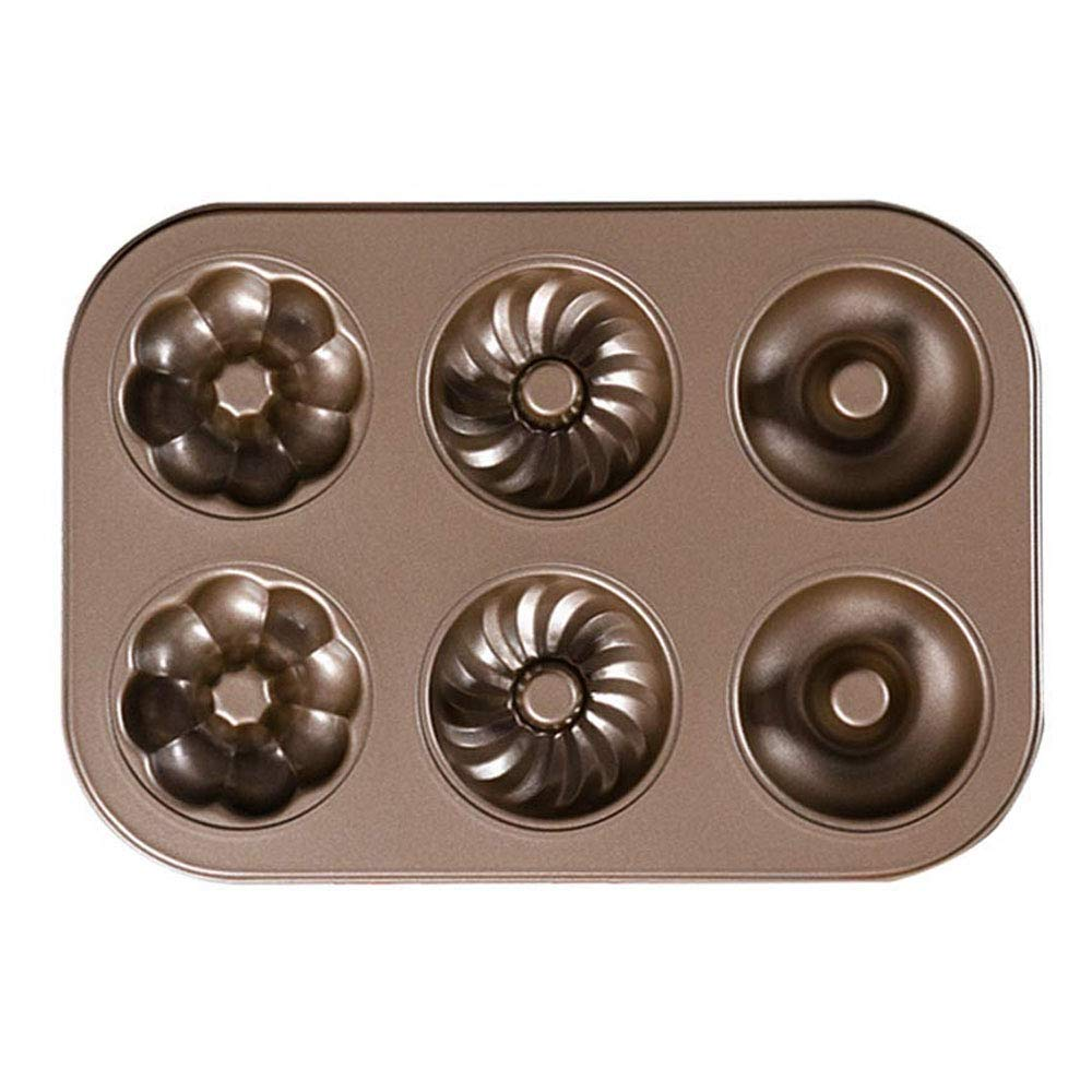 Cruller Baking Pan Donut Pan Makes 6 Donuts,3 Pattern and Non-Stick Donut Mold Safe Baking Tray Maker Pan for Cake Biscuit Bagels Donut Cake Mold 6-Cups Fancy