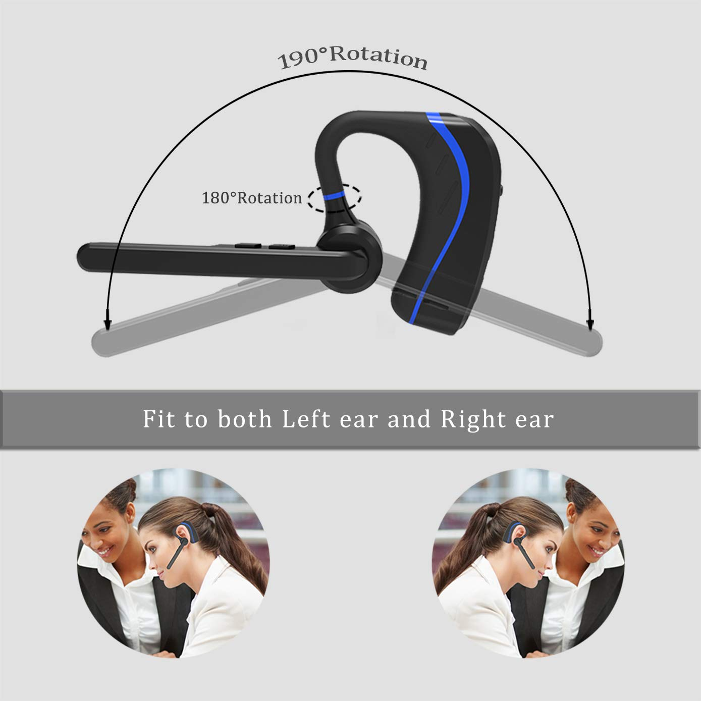 Amazon.com: Bluetooth Headset, HandsFree Wireless Bluetooth Earpiece V4.1 Single Ear Noise Cancelling Mic Cell Phones Compatible with iPhone, ...