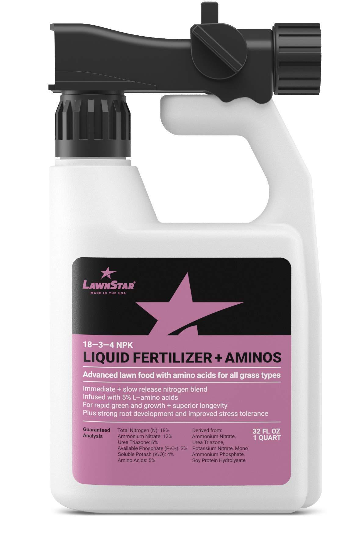 LawnStar Premium 18-3-4 NPK + Amino Acid Lawn Food (32 OZ) - Advanced Spring & Summer Fertilizer - Makes Grass Greener, Conditions Soil - Slow Release N, Liquid Blend, All Grass Types - American Made by Lawn Star