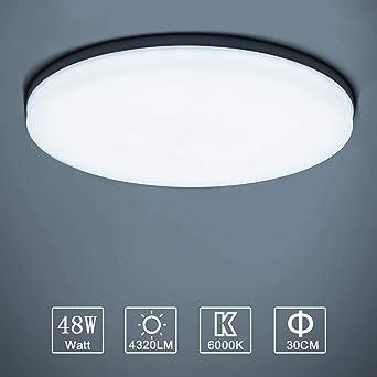 LED Lámpara de Techo Moderna 48W Plafón Led Redonda Ultra Delgado Downlight Blanco Frío 6000K 4320LM adecuada para Cocina Balcón Dormitorio Corredor ...