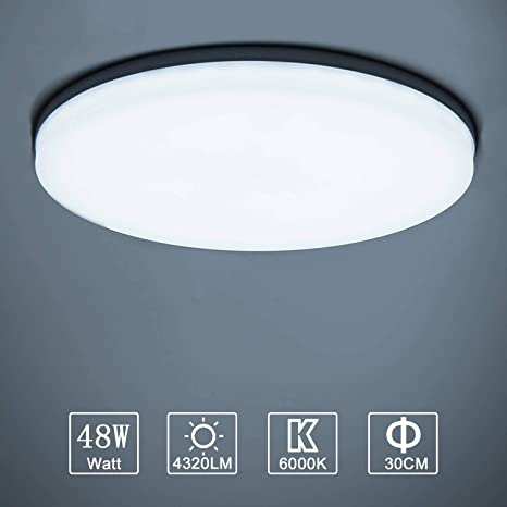 Mince Led Ufo Plafond Blanc Lampe À Panel Rond Salle Plafonnier 4320lm Applicable De Ultra Facile Moderne 6000k Installer 48w Lampes Froid mN0nwv8