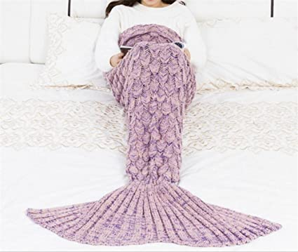 Amazon.com: L&T STAR Mermaid Tail Blanket Fish Scale Knit Warm Mermaid Tail Adult Children Blanket Size 180 90mm , G: Home Improvement