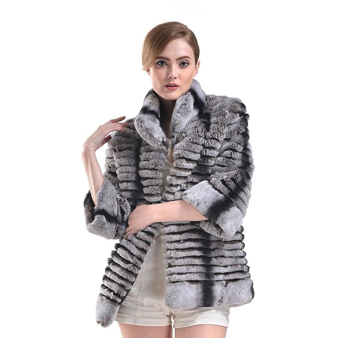 hhdress Real Rex de piel de conejo cuello abrigos corto caliente chaquetas: Amazon.es: Ropa y accesorios