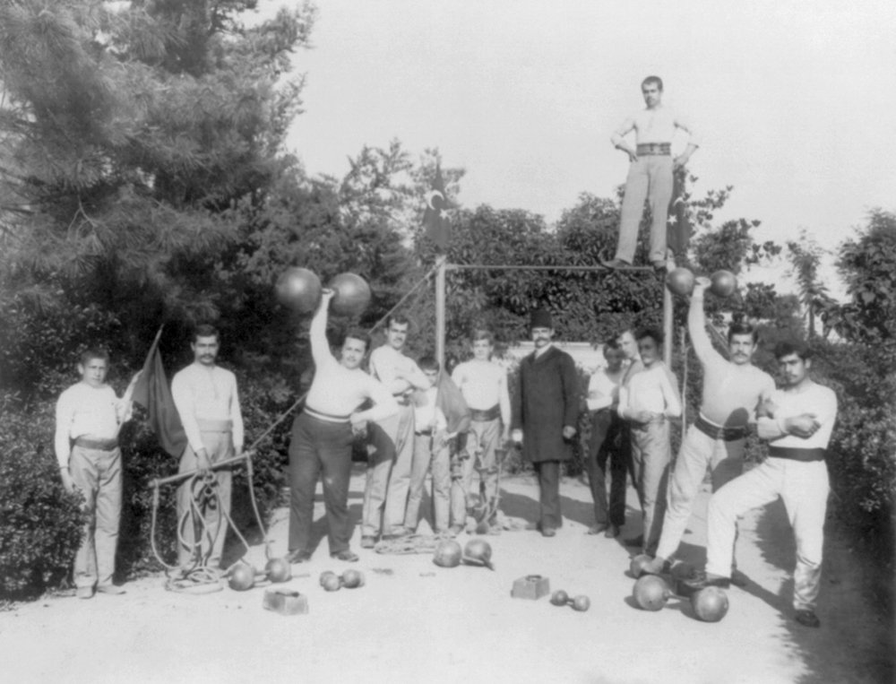 Gymnastic Exercises in Istanbul - Vintage Photograph (12x18 Art Print, Wall Decor Travel Poster)
