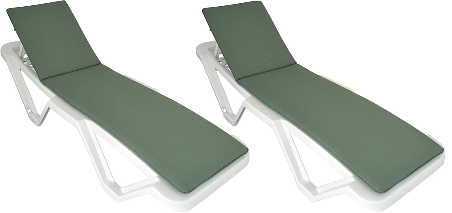 Pack of 2 Sun Lounger Cushions - Green - Fits most Loungers Including Resol Master and Marina Harbour Housewares