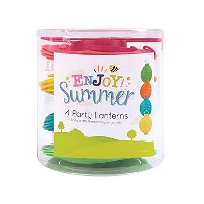 4 Summer Garden Party Decorative Lantern Ball Lights Pink, Blue, Yellow, Green
