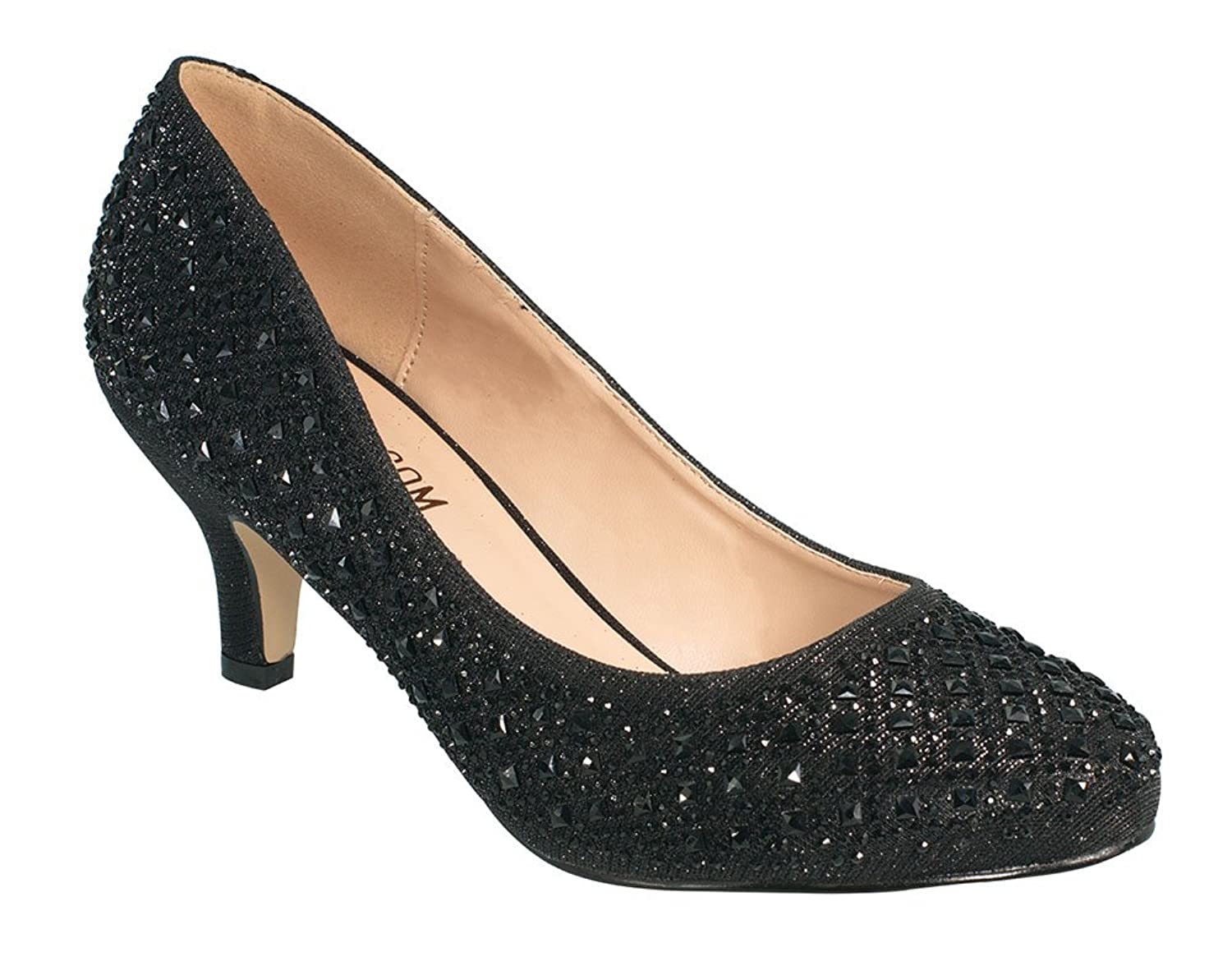 De Blossom Collection Women's Shiny Fabric Patterned Rhinestone Embellished Closed Toe Low Heel Pump